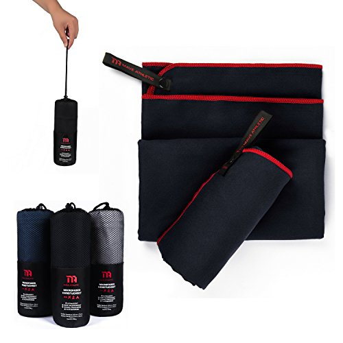Premium Mikrofaser Handtücher im Doppelpack mit praktischer Tragetasche [140cm x 70cm & 70cm x 40cm] - Ultraleicht und schnelltrocknend - Ideal für Reisen und Sport (Anthrazitschwarz) (Schnell Gewebe Trocknende)
