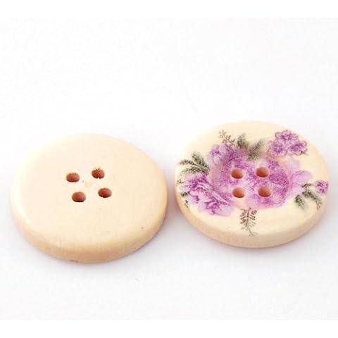 metebu (TM) 50pcs Patrón de flores 4Agujeros Madera coser botones álbumes de recortes (25mm, 1