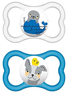 MAM Air Silicone 226311 Dummies 16+ Pack of 2 for Boys Assorted Colours