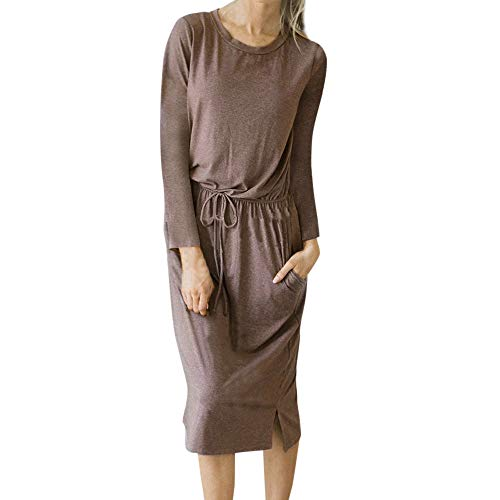 Damen Winterkleid MYMYG Lonngshirt Rundhalskleider Tunikakleid Frauen Langarm Pullover Kleider Lang Vintage O-Ausschnitt lose Langarm-Kleid(rot,EU:40/CN-XL)