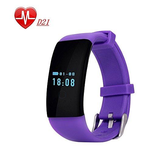 Oumeiou D21 Fitness-Tracker, verschiedene Farben, Pulsmesser, für Android und iOS, D21, violett, One Size fit for All