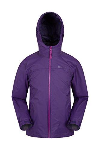 Mountain warehouse giacca impermeabile per bambini torrent - impermeabile con cuciture nastrate, giacca per bambini con tasche con zip, giacca estiva regolabile - viaggi viola 164