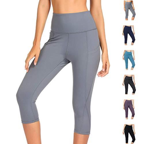 WateLves Damen Hohe Taille Sport Hose 3/4 Yoga Leggings Capri mit Tasche Jogginghose Stretch Workout Fitness(Grau, XL)