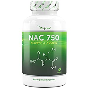 Vit4ever® NAC – N-Acetyl L-Cystein 180 Kapseln mit je 750 mg – 6 Monatsvorrat – Laborgeprüft – Vegan – Hochdosiert – Premium Qualität