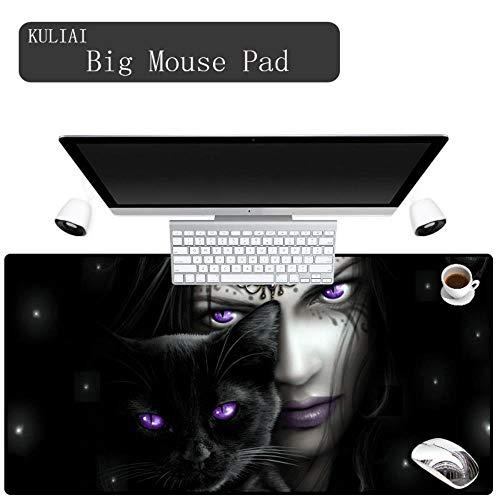 Black Bottom Mat (3D Print Black Bottom Katzen und Mädchen Mauspad PC Notebook Spiel Maschine Geschwindigkeit Maus Tiger Mats Rechteck Mauspads Gummi, 400X900X3MM)