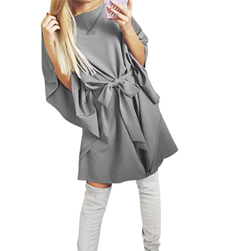 feiXIANG Casual Ultra lockere Mode Mini Dress + Gürtel Frau Volltonfarbe kleider Taille lose Kleid Frau extra lose Hemdkleid Chiffon unregelmäßige trägerlosen kleider (M, Grau) (Trägerlosen Chiffon-cocktail-kleid)