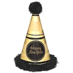 Amscan-25037113en BLK/Gld marabú cono sombrero feliz año nuevo