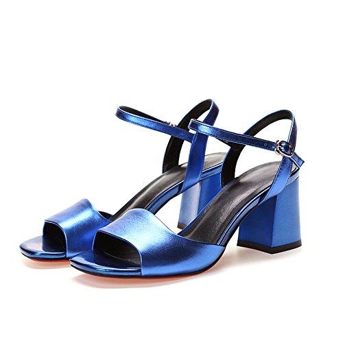 38 Couro Highheels Verão Preto Sandália Das De Sapatos Azuis Mulheres De q7Or87