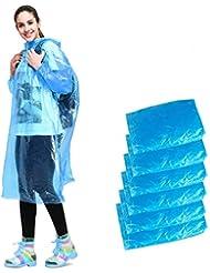 Aival Poncho Pioggia Monouso, Poncho Impermeabile d'Emergenza, Poncho con Cappuccio Mackintosh per Campeggio Escursioni Picnic Viaggio Bivacco a Piedi Zaino in Spalla, 6 Pezzi Blu