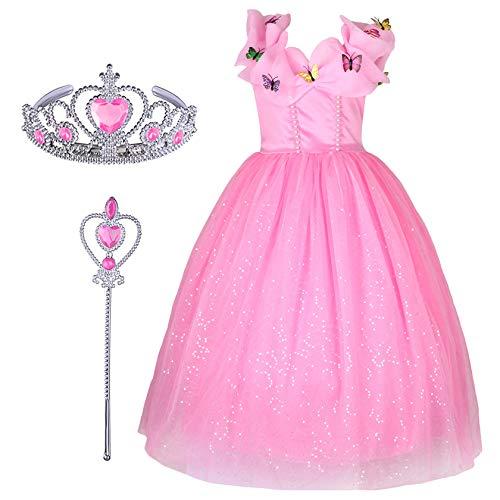 Kostüm Kleid Rosa Cinderella - FStory&Winyee Mädchen Prinzessin Kleid Kinder Cinderella Kostüm Schmetterlinge Verrücktes Kleid Partei Märchen Cosplay Kostüm Set Krone und Zauberstab Geschenk für Karneval Weihnachten Hochzeit Rosa