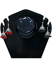 Besterbuy Silver Plated Red And Black Earrings Combo Pack Of 2 For Women