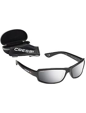 Cressi XDB100012 Gafas de Sol, Unisex Adulto, Negro/Lentes Espejados Plata, Talla Única