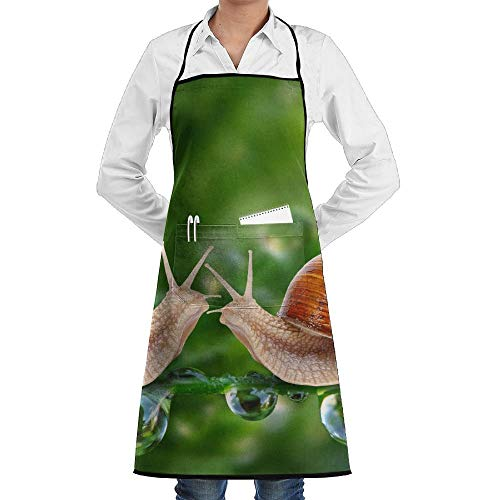 GDESFR Apron with Pock,Two Snails Next to Dew Faction Unisex Kitchen Cooking Garden Apron,Convenient Adjustable Sewing Pocket Waterproof Chef Aprons -