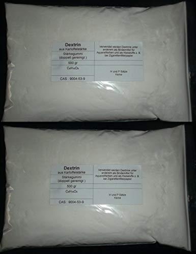 1000 g Dextrin weiß aus Kartoffelstärke, Top Qualität (doppelt gereinigt), Stärkegummi, Bindemittel für Aquarellfarben