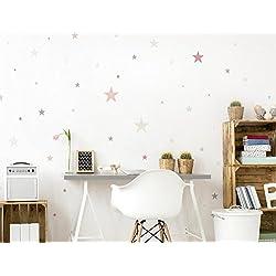 I-love-Wandtattoo WAS-10447 - Set de pegatinas de pared para habitación infantil, estrellas en colores pastel en colores suaves, 50 unidades, estrellado para pegar, adhesivos de pared, pegatinas, decoración de la pared