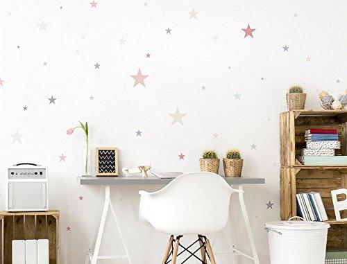 """I-love-Wandtattoo WAS-10447 Kinderzimmer Wandsticker Set """"Pastell Sterne in zarten Farbtönen"""" 50 Stück Sternenhimmel zum Kleben Wandtattoo Wandaufkleber Sticker Wanddeko"""