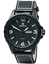 Skone 9392AG-2 Analog Black Dial Leather Strap Wrist Watch / Casual Watch - For Men's