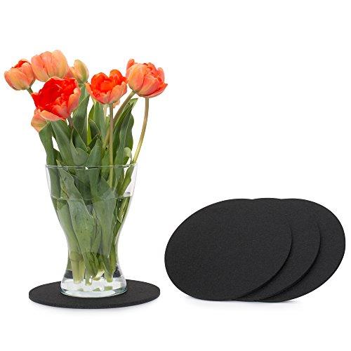 FILU Filzuntersetzer rund 20cm 4er Pack (Farbe wählbar) schwarz - Untersetzer aus Filz für Tisch und Bar als Glasuntersetzer/Getränkeuntersetzer für Glas und Gläser -