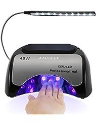 Anself 48W Lampe Sèche-Ongles CCFL + LED Professionnelle pour Durcissement de Gel Shellac et Vernis 110-240V