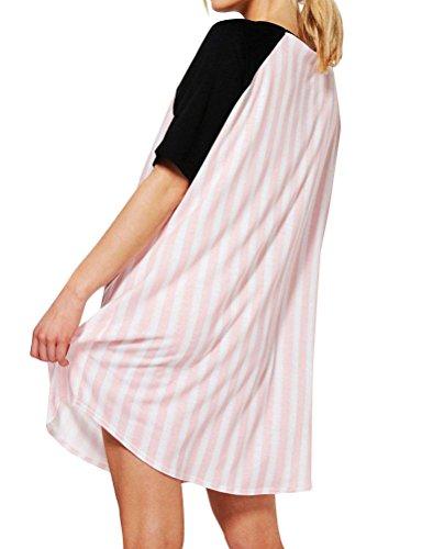 Nlife Camicia Sleep Abiti Plus Size Donna Baseball Stile Dolman Raglan Sleeve Stripe Camicia da Notte in Cotone T-Shirt Dress Pink