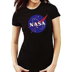 Camiseta de Mujer NASA Logo Retro Old School, Negra, XL