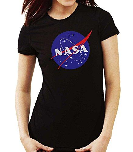 35mm - Camiseta Mujer NASA Logo Retro Old School, Negra, S