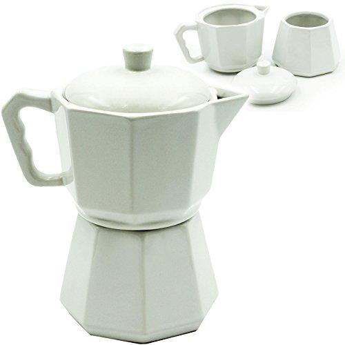 alles-meine GmbH 3 tlg. Set _ Zuckerdose & Milchkännchen - mit Deckel -  Espressokanne / Teeka..