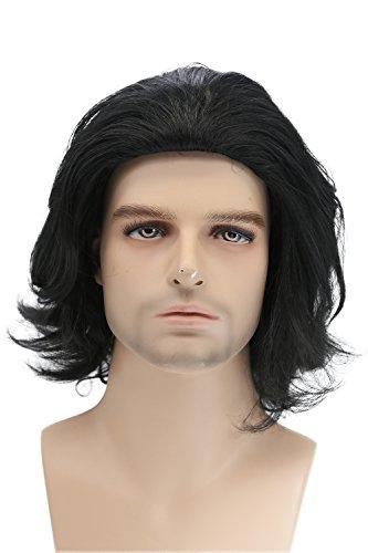 Xcoser Kylo Perücke SW Film Cosplay Wig Ren Kostüm Schwarz Kurz Wellig Lockig Haar Zubehör Hair ()