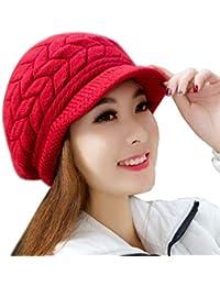 Voberry Women's Winter Warm Knit Hat Wool Snow Ski Caps Visor