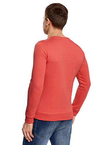 oodji Ultra Herren Gerades Sweatshirt mit Druck Rot (4349P)