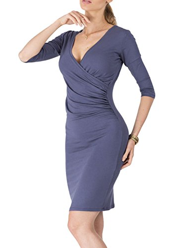 Azbro Fashion Half Sleeve Deep-V Body-con Dress Deep Blue