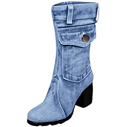 POLP Botas Altas de tacón con Plataforma Mujer Invierno Romanos Botas Vaqueras con Hebilla Zapatos de tacón Alto para Mujer con Cremallera Zapatilla Alta Botines 35-43