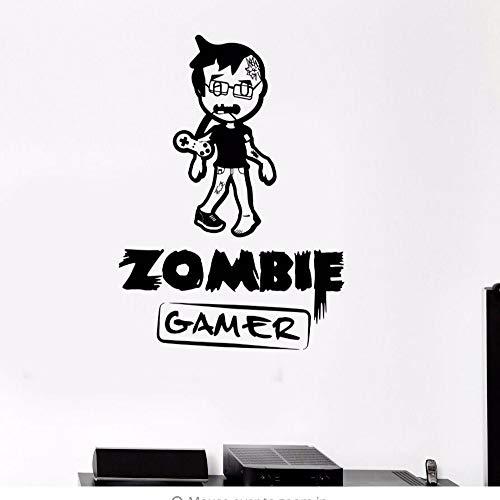 Dwqlx Wandtattoo Zombie Gamer Wandkunst Wandbild Videospiele Spielen Wandaufkleber Junge Teen Room Decor Abnehmbare Vinyl Gamer Tapete 57 * 80 Cm