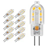 Yuecute 10 x G4 LED Birne 1,2 W 12 SMD 2835 Energiesparlampe 12 V AC DC entspricht 10 W Halogenlampe Helligkeit geeignet für Wohnzimmer, Schlafzimmer, Büro Beleuchtung, warmweiß, G4, 1.20W 12.00V