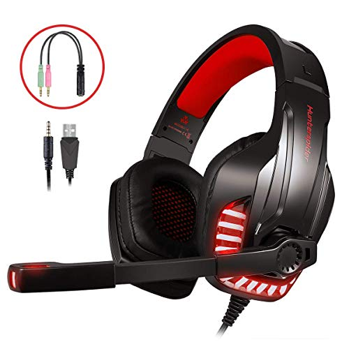 LATEC Gaming Headset für PS4, PC, Xbox One S, Laptop, Tablet, Phone, Mac, Gaming Kopfhörer mit Mikrofon, LED-Licht Stereo Bass Surround Rauschunterdrückungsmikrofon Over-Ear Headphones