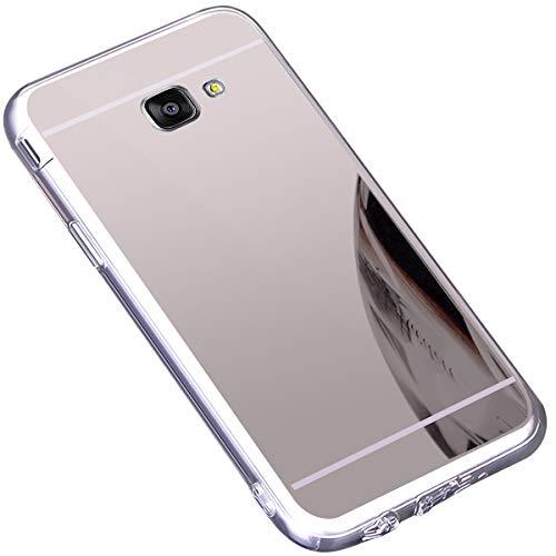 Surakey Cover Compatibile con Samsung Galaxy A5 2016, Effetto Specchio Custodia in Silicone Brillante Colore di Placcatura Mirror Case Antiurto TPU Bumper Ultra Sottile Protettiva Cover,Argento