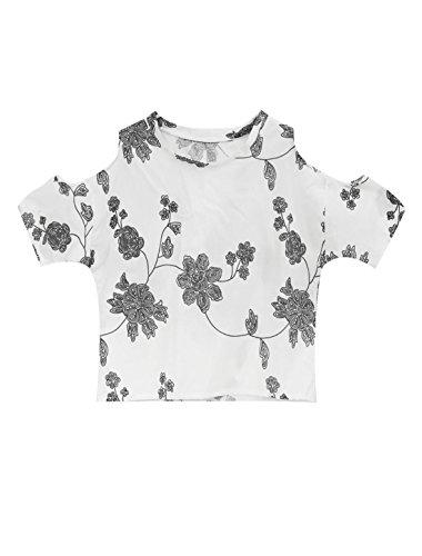 Lady Demi Manche Chauve-souris Floral Impressions Épaule Ajourée Top Blanc