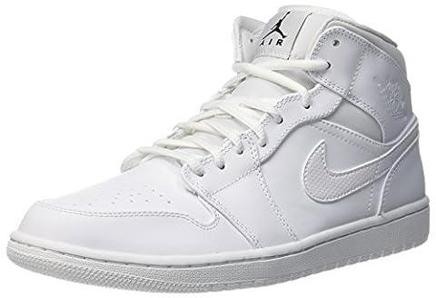 Nike Herren Air Jordan 1 Mid Basketballschuhe, Mehrfarbig (White/Black/White), 40.5 EU (Nike Jordan 1 Mid)