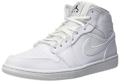 Nike Herren Air Jordan 1 Mid Basketballschuhe, Elfenbein ( Weiss/Pure Platinum/ Weiss), 40.5 EU