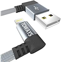 Lightning Kabel Toways iPhone Ladekabel [Apple MFi zertifiziert] 90 Grad Winkel Stecker 1.2m Nylon USB Datenkabel für iPhone X 8 Plus 7 Plus 6s Plus 6 Plus 6 5S 5C 5, iPad Air 2, Mini 3 - Grau