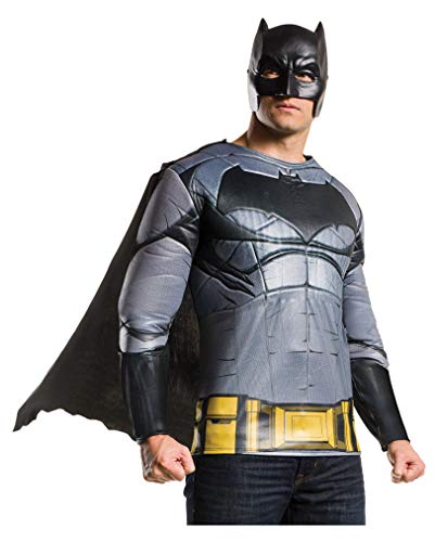 Horror-Shop Batman v Superman Batman Muskel Shirt mit Maske & Umhang XL (Muskel Superman Kostüm)