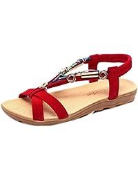 CXKS Damenschuhe Sandalen Sommer Flip Flops Mode Peep-Toe Low Schuhe Flip Flops, Rot, 10.