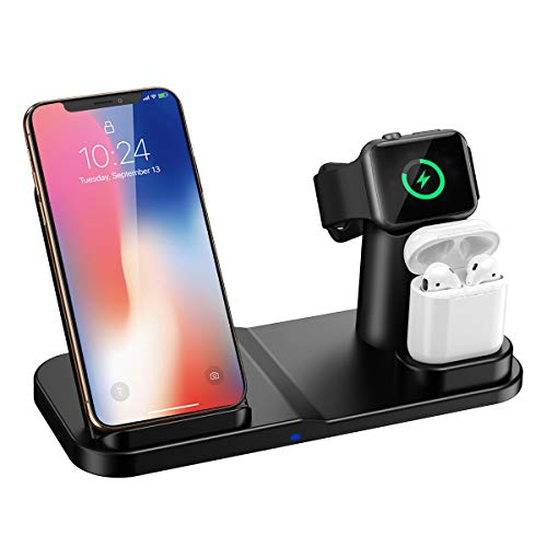 1 Ladestation (Wonsidary Wireless Charger Ständer, Wireless Ladestation 3 in 1 für iPhone AirPods Apple Watch 4/3/2/1, iPhone XS/XS Max/XR/X/8/8 Plus, Samsung Galaxy, alle Qi-fähigen Telefone (Schwarz-w2))