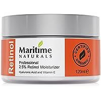 Maritime Naturals Crema Idratante al Retinolo con Acido Ialuronico e Vitamina E, Dal Canada la Cura professionale Naturale per la Pelle – 120 ml