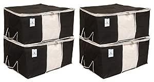 Kuber Industries 4 Piece Non Woven Underbed Storage Organiser Set, Extra Large, Black