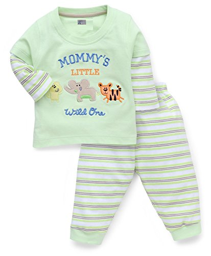 NammaBaby Full Sleeves Premium Sweat TShirt With Ribbed Pant Set With Stylish Look (3-6 months, GREEN)