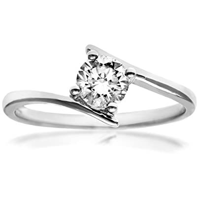 Naava 18ct White Gold Crossover Solitaire Engagement Ring, J/I1 Certified Diamond, Round Brilliant