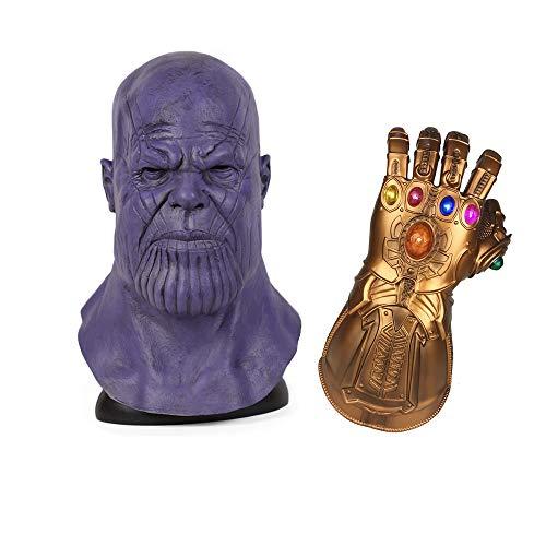DRAKE18 Thanos Maske und Infinity Gauntlet Avengers Halloween Prop Cosplay Latex Maske geruchlos Festival Kostümparty (2-teiliges Set)