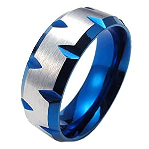 Konov Jewellery 8mm High Polished Stainless Steel Mens Ring, Blue Plated Faceted Edges, Color Blue Silver, Size M (with Gift Bag)
