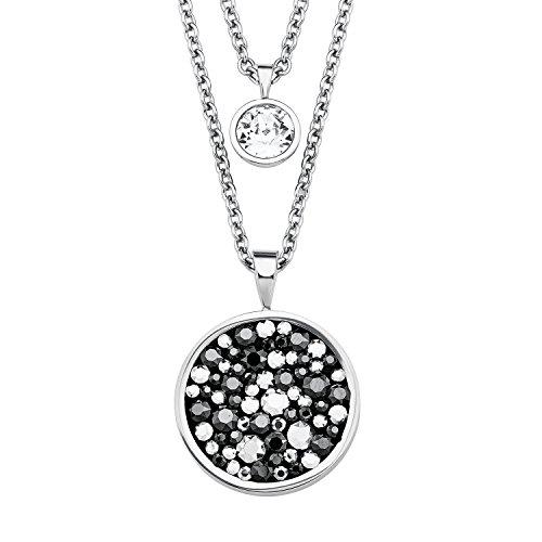 s.Oliver Damen Halskette doppelreihig mit Anhänger aus Edelstahl und Swarovski Kristallen